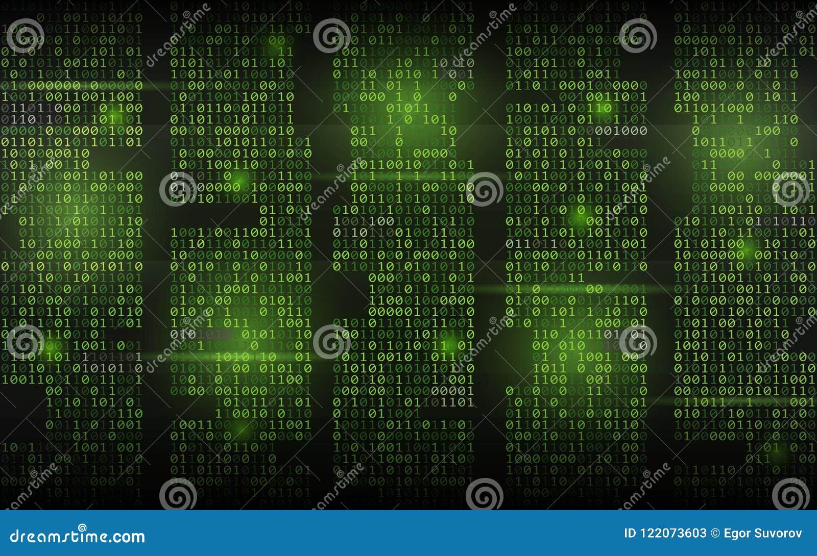 αφηρημένο δυαδικό ανασκόπησης Πράσινος κώδικας ροής Στήλες με τα ψηφία στο σκοτεινό σκηνικό Χαραγμένη έννοια οθόνης trendy