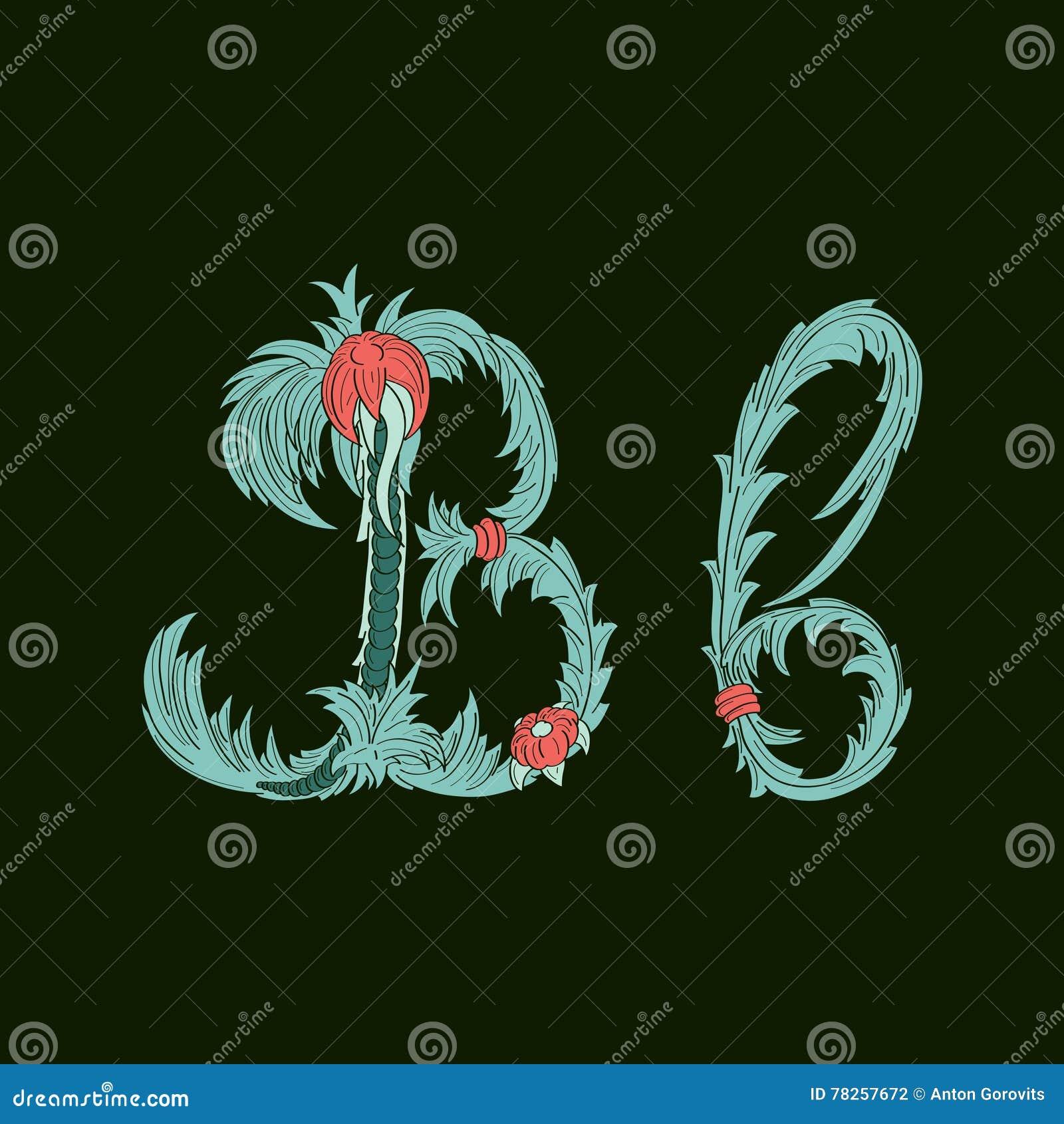 Αφηρημένο εικονίδιο λογότυπων γραμμάτων Β στο μπλε τροπικό ύφος