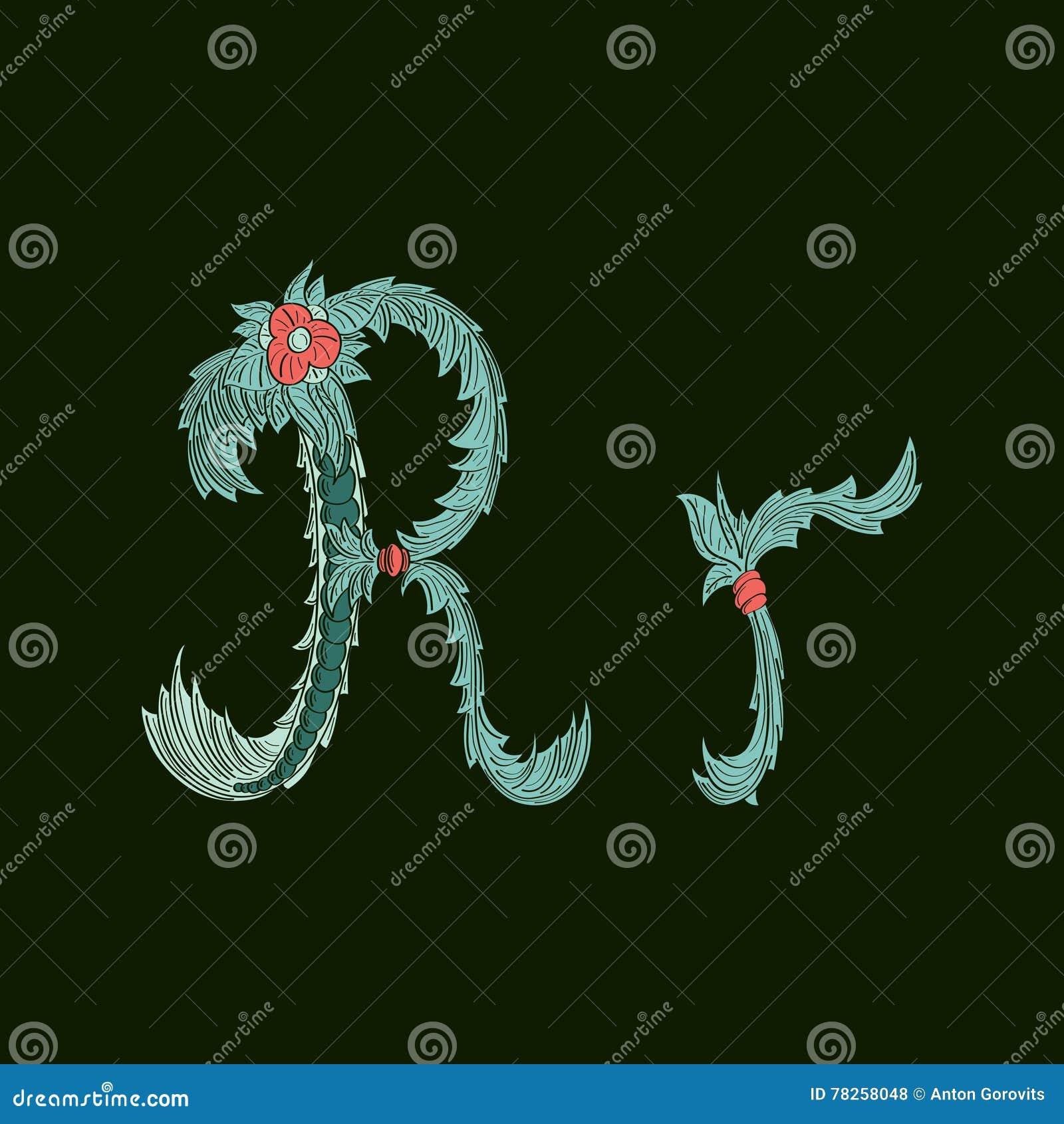 Αφηρημένο εικονίδιο λογότυπων γραμμάτων Ρ στο μπλε τροπικό ύφος