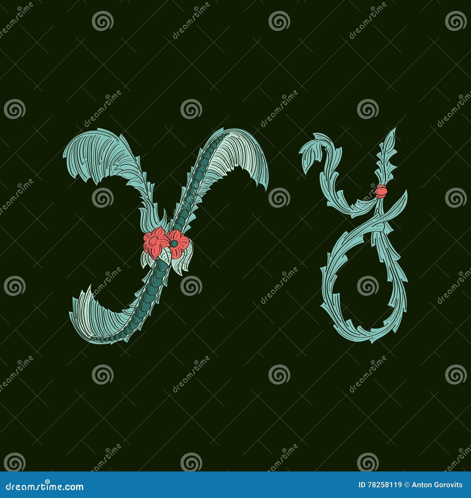 Αφηρημένο εικονίδιο λογότυπων γραμμάτων Υ στο μπλε τροπικό ύφος