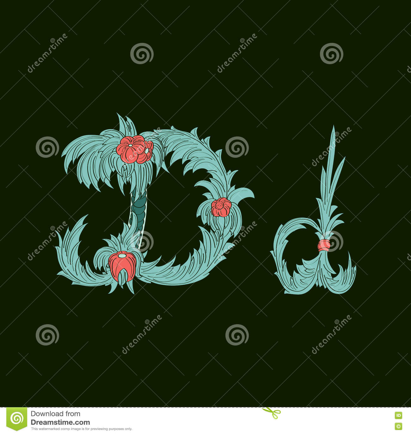 Αφηρημένο εικονίδιο λογότυπων Δ επιστολών στο μπλε τροπικό ύφος