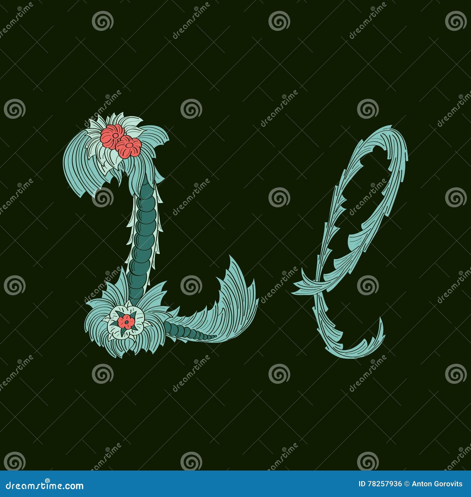 Αφηρημένο εικονίδιο λογότυπων Λ επιστολών στο μπλε τροπικό ύφος