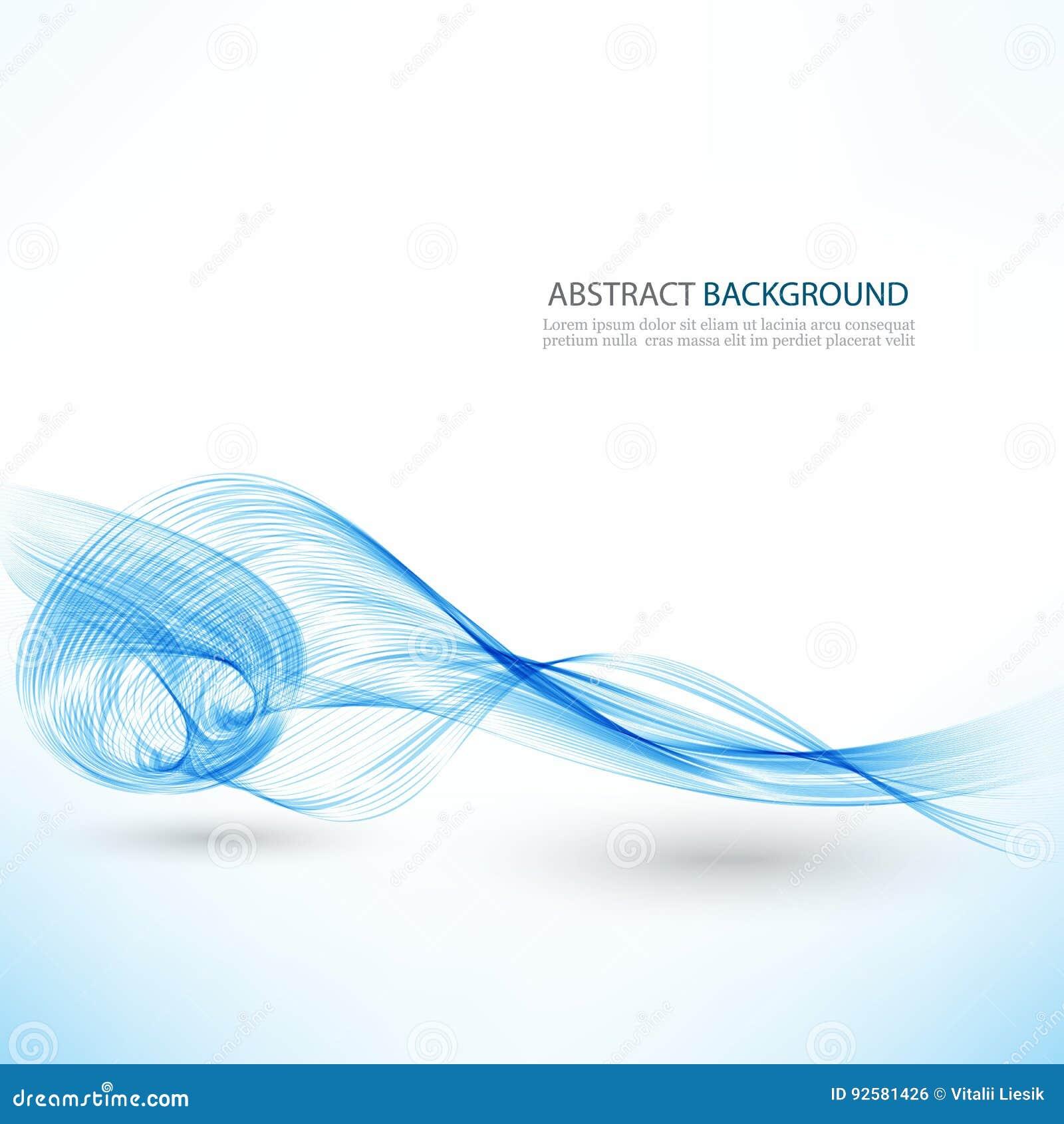 Αφηρημένο διανυσματικό υπόβαθρο, μπλε διαφανείς κυματισμένες γραμμές για το φυλλάδιο, ιστοχώρος, σχέδιο ιπτάμενων μπλε κύμα καπνο