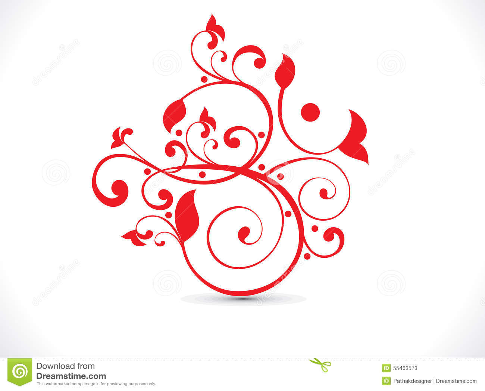 Αφηρημένο καλλιτεχνικό κόκκινο floral κείμενο του OM