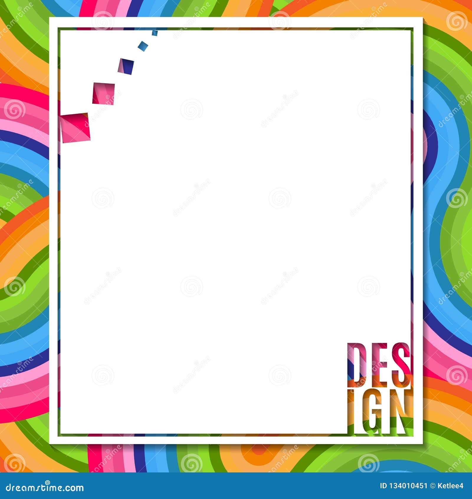 Αφηρημένο κενό ορθογώνιο έμβλημα με το στοιχείο σχεδίου κειμένων στο φωτεινό ζωηρόχρωμο υπόβαθρο του κυματιστού στοιχείου γραμμών