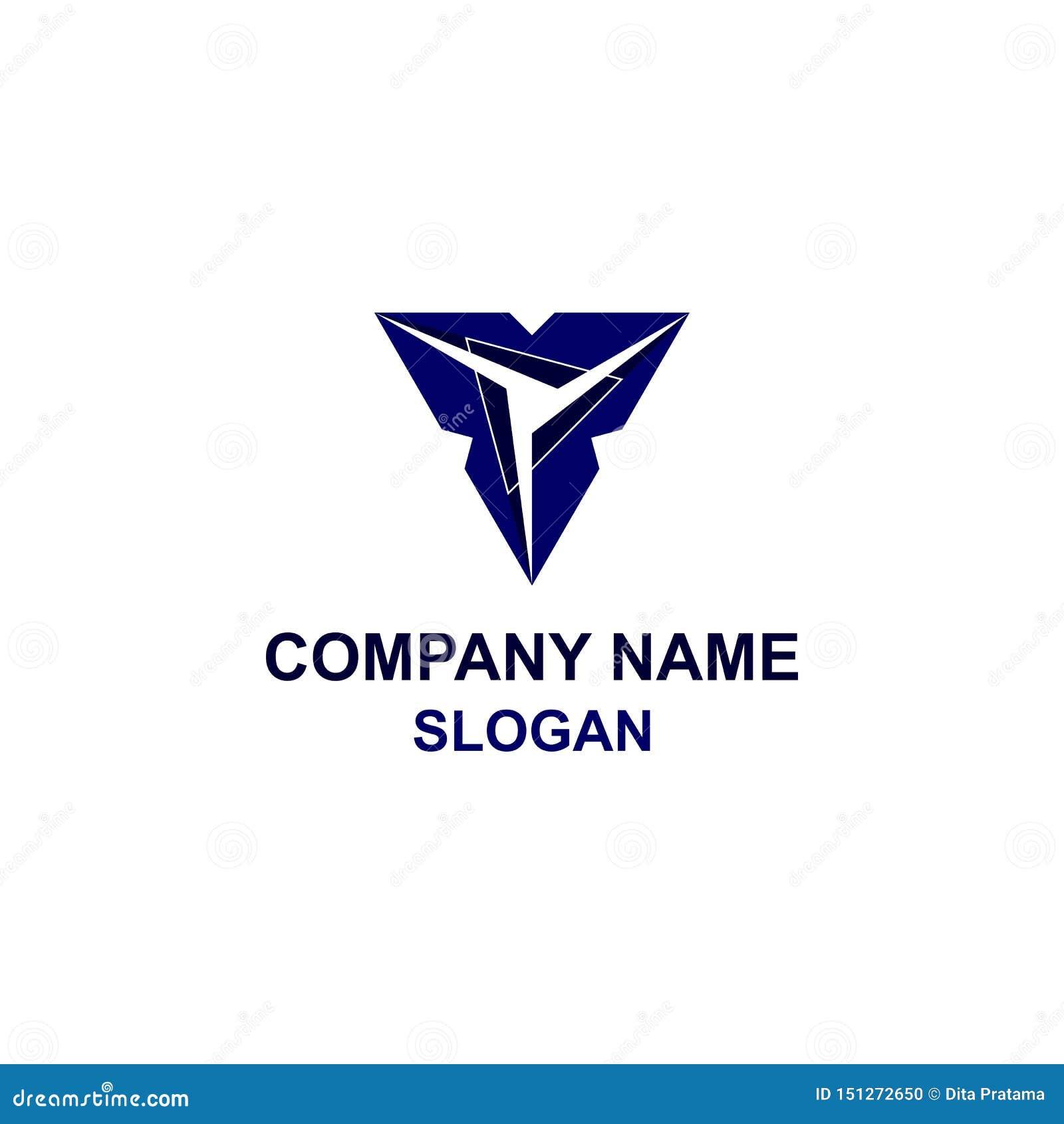 Αφηρημένο μπλε λογότυπο τριγώνων