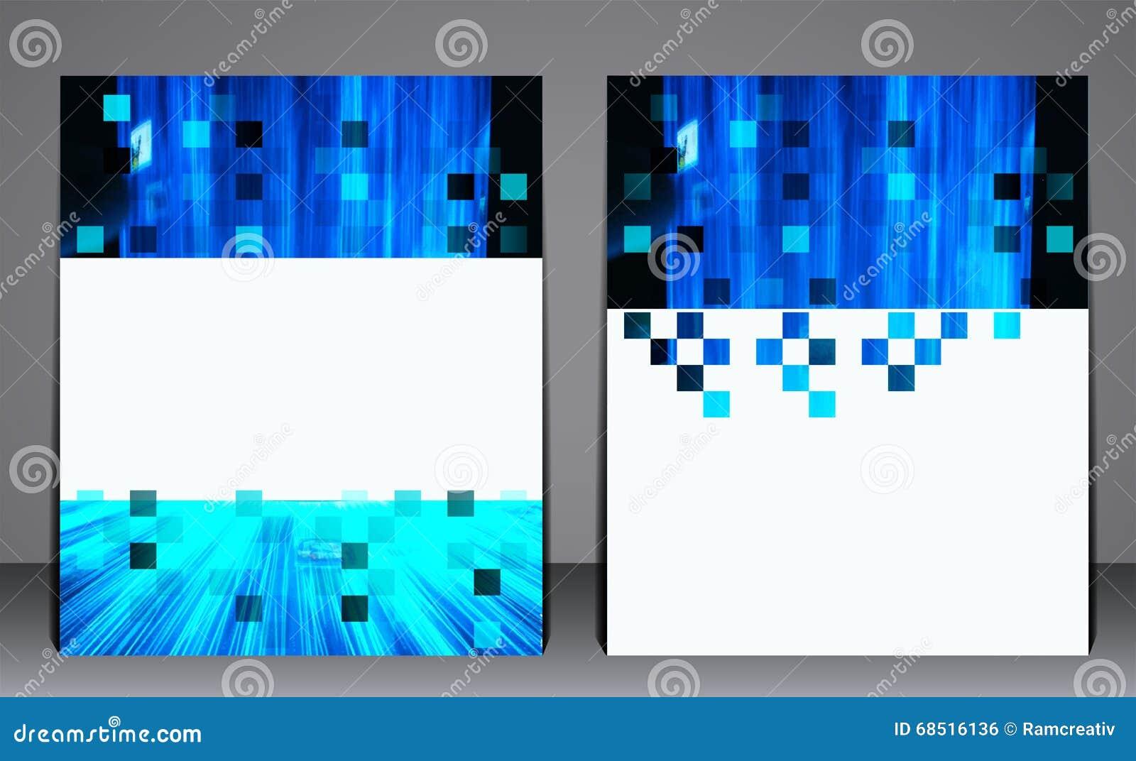 Αφηρημένο μπλε ιπτάμενο επιχειρησιακών φυλλάδιων, σχέδιο A4 στο μέγεθος, κάλυψη σχεδιαγράμματος, σχέδιο στο ψηφιακό γεωμετρικό ύφ