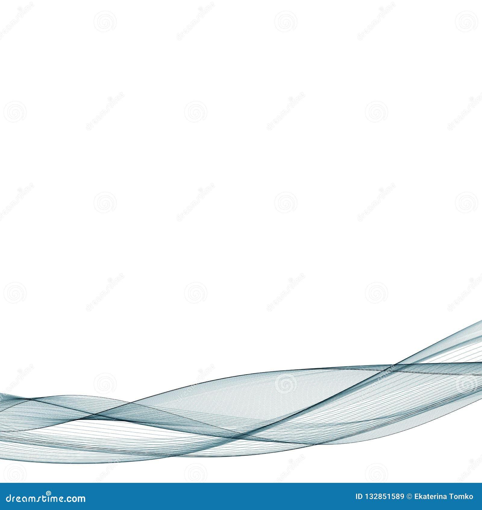 Αφηρημένο ομαλό διάνυσμα κυμάτων χρώματος Μπλε απεικόνιση κινήσεων ροής καμπυλών Σχέδιο καπνού Διανυσματικές γραμμές