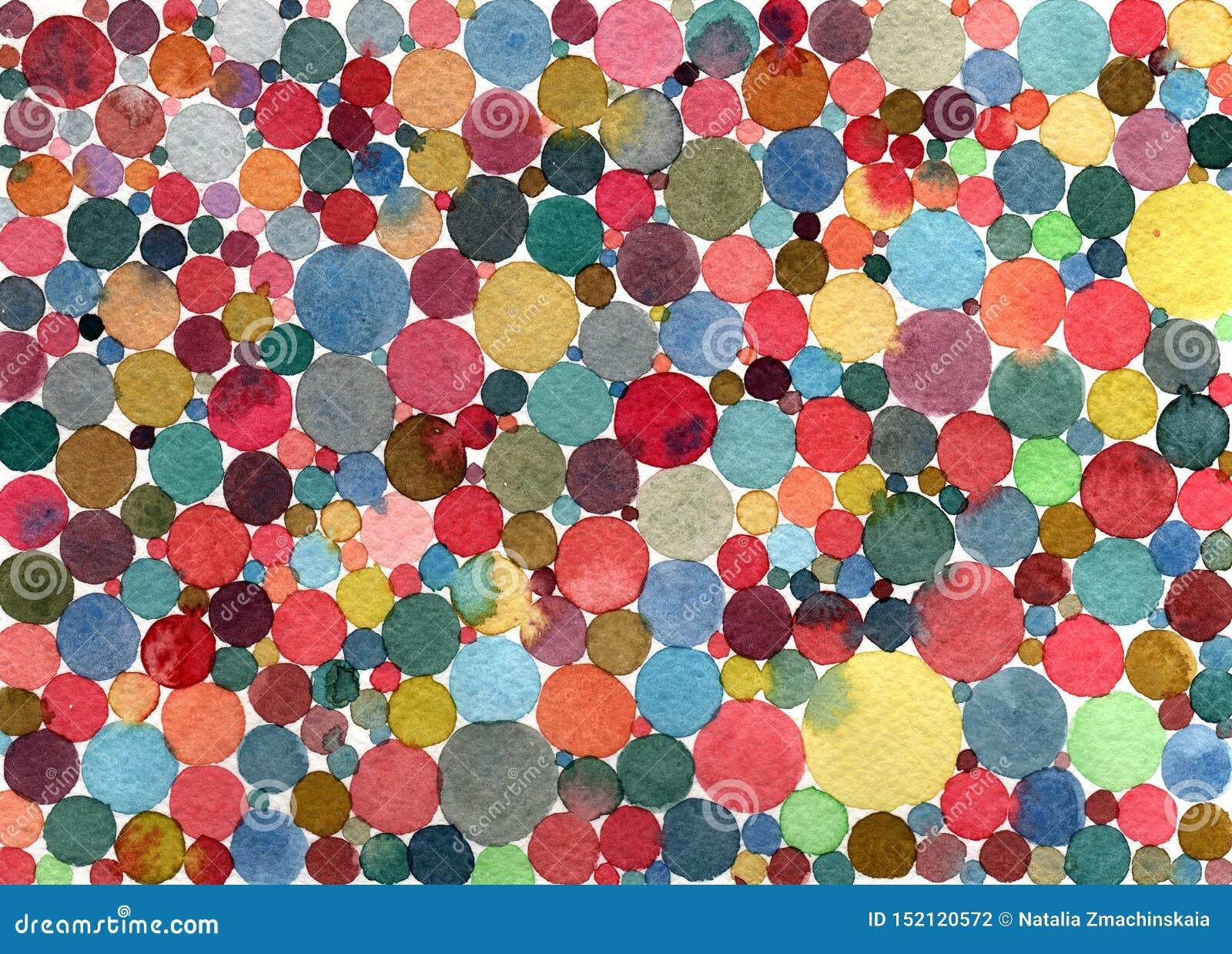 Αφηρημένο πολύχρωμο σχέδιο σημείων/κύκλων Πόλκα watercolor