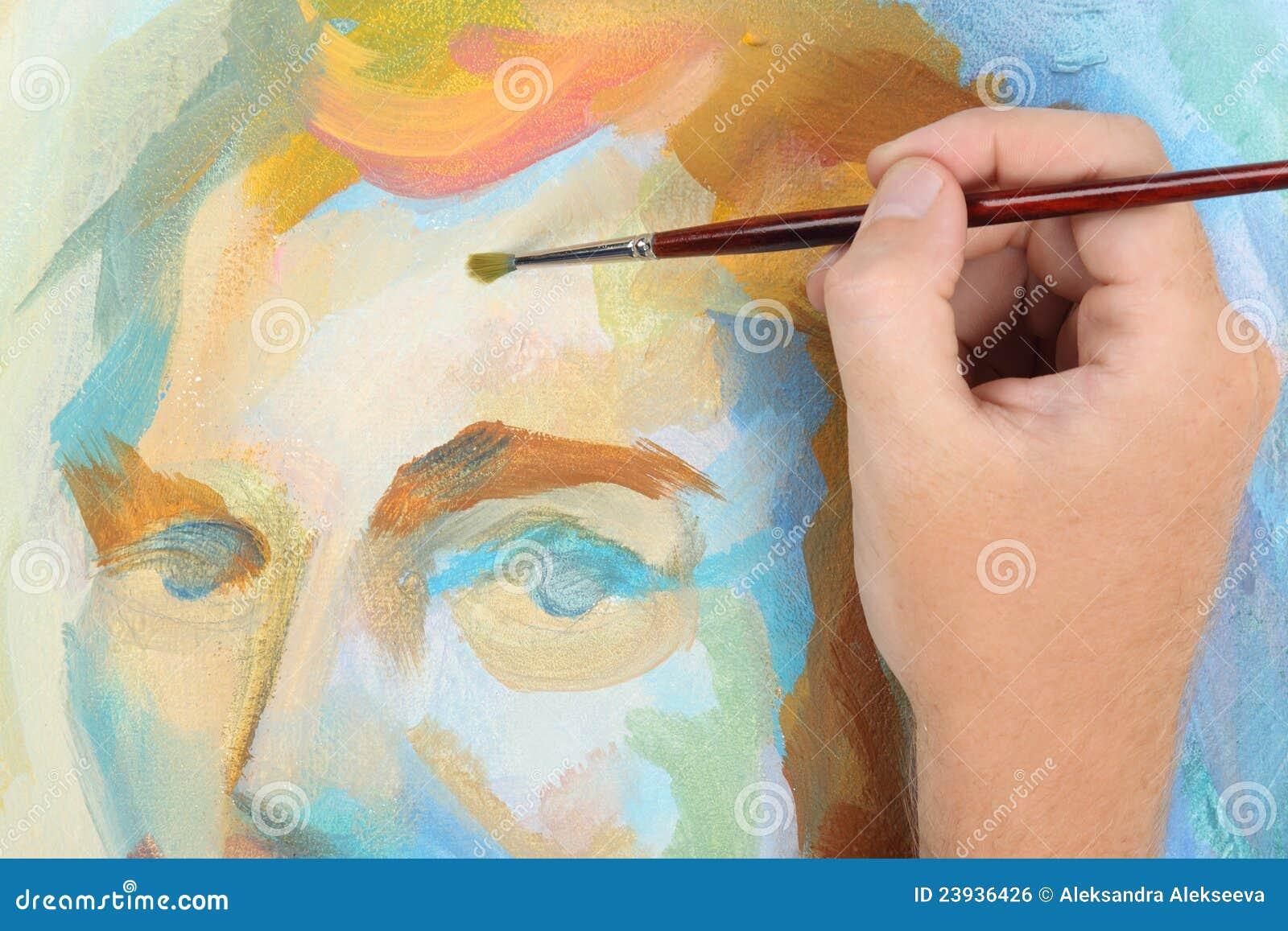 αφηρημένο πορτρέτο ζωγραφικής ατόμων χεριών