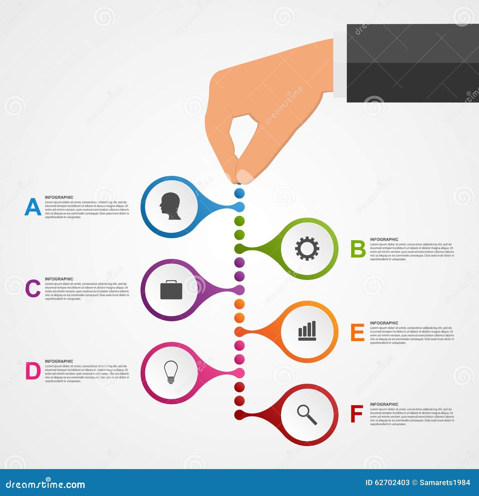 Αφηρημένο πρότυπο σχεδίου infographics με τα ανθρώπινα χέρια που κρατούν τους στρογγυλούς φραγμούς