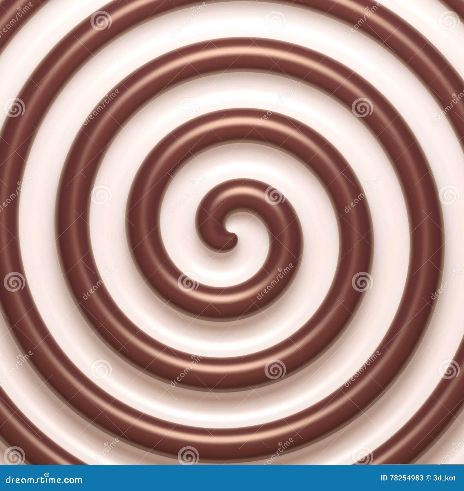 Αφηρημένο σπειροειδές υπόβαθρο σοκολάτας και κρέμας