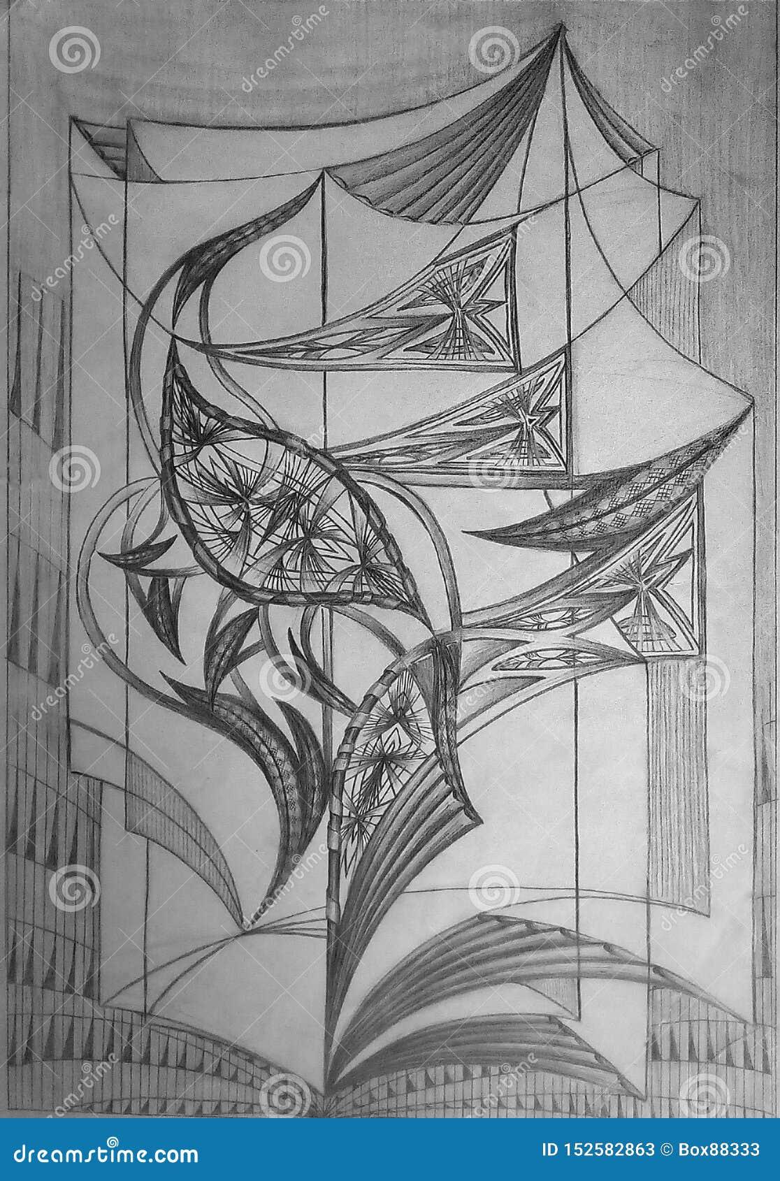 Αφηρημένο σχέδιο που γίνεται στη Λευκή Βίβλο με το από γραφίτη μολύβι r