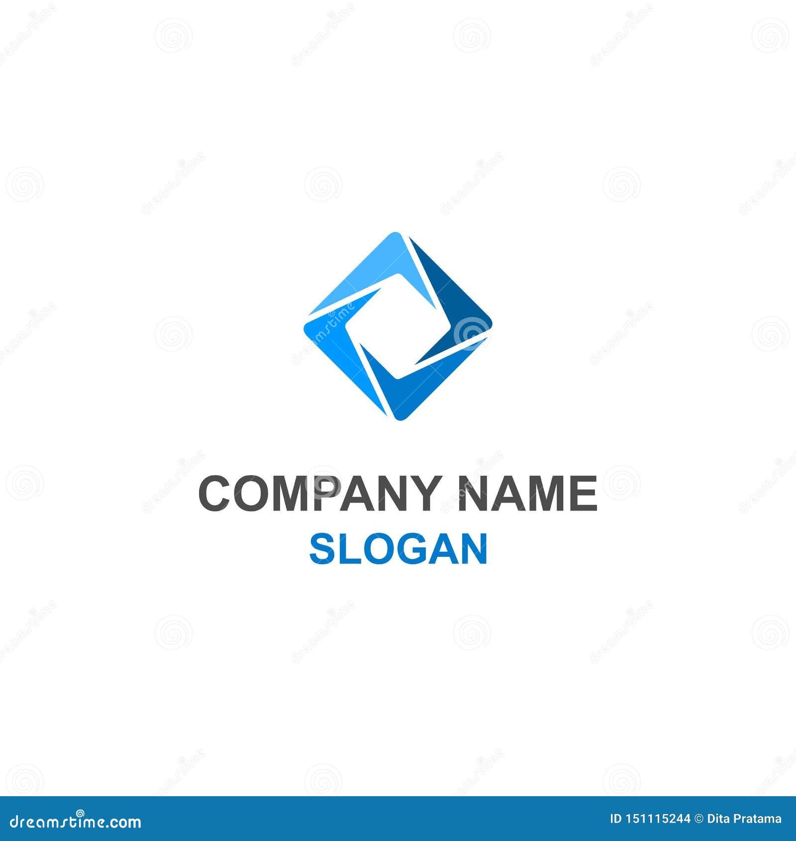 Αφηρημένο τετραγωνικό μπλε λογότυπο