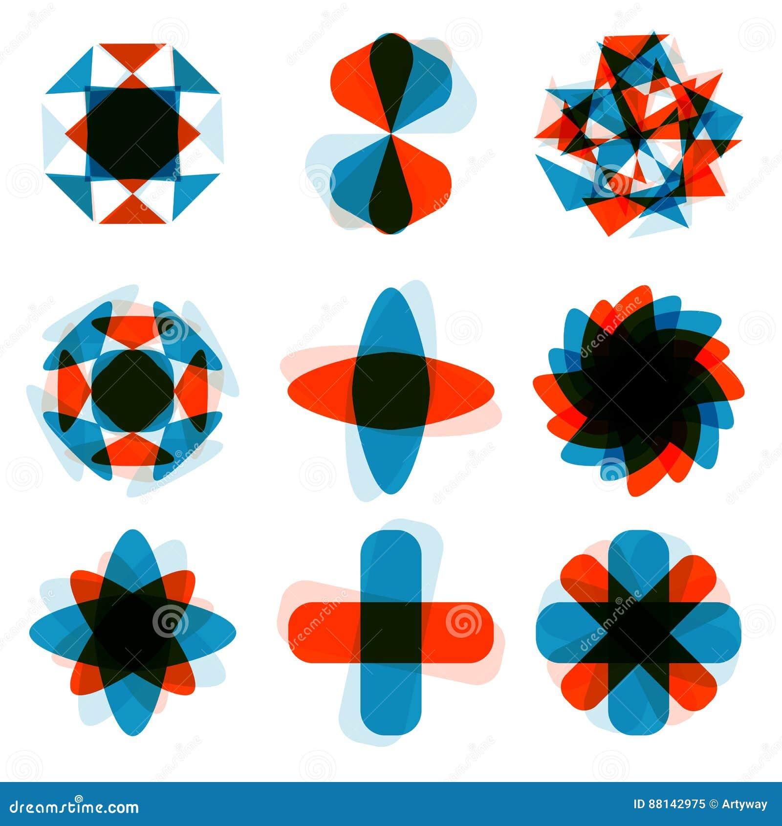 Αφηρημένο τετραγωνικό στοιχείο λογότυπων σχεδίου Συντριβή γύρω από το σχέδιο ορθογωνίων Ζωηρόχρωμα τετραγωνικά εικονίδια καθορισμ