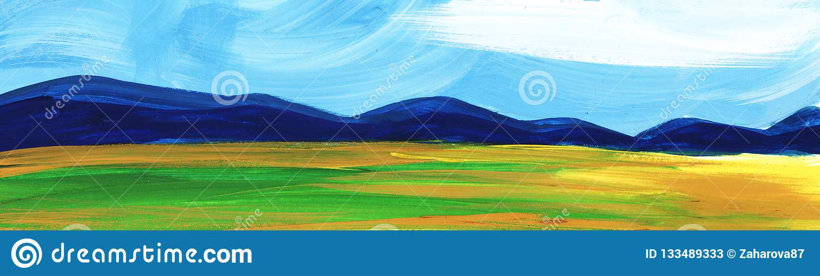 αφηρημένο τοπίο Δάσος βουνών κάτω από το μπλε ουρανό και τους τομείς