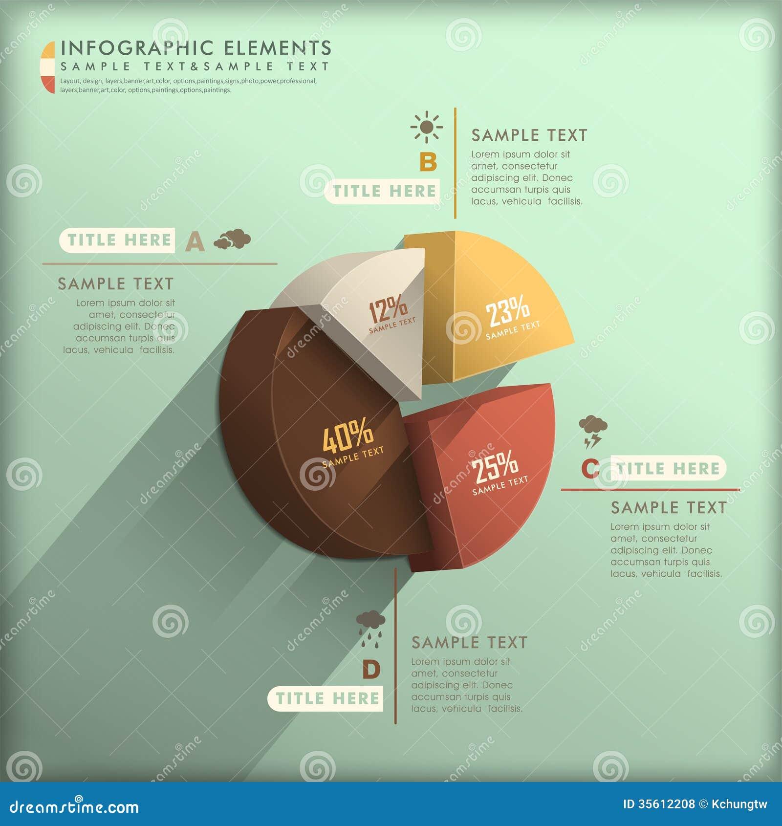 Αφηρημένο τρισδιάστατο infographics διαγραμμάτων πιτών
