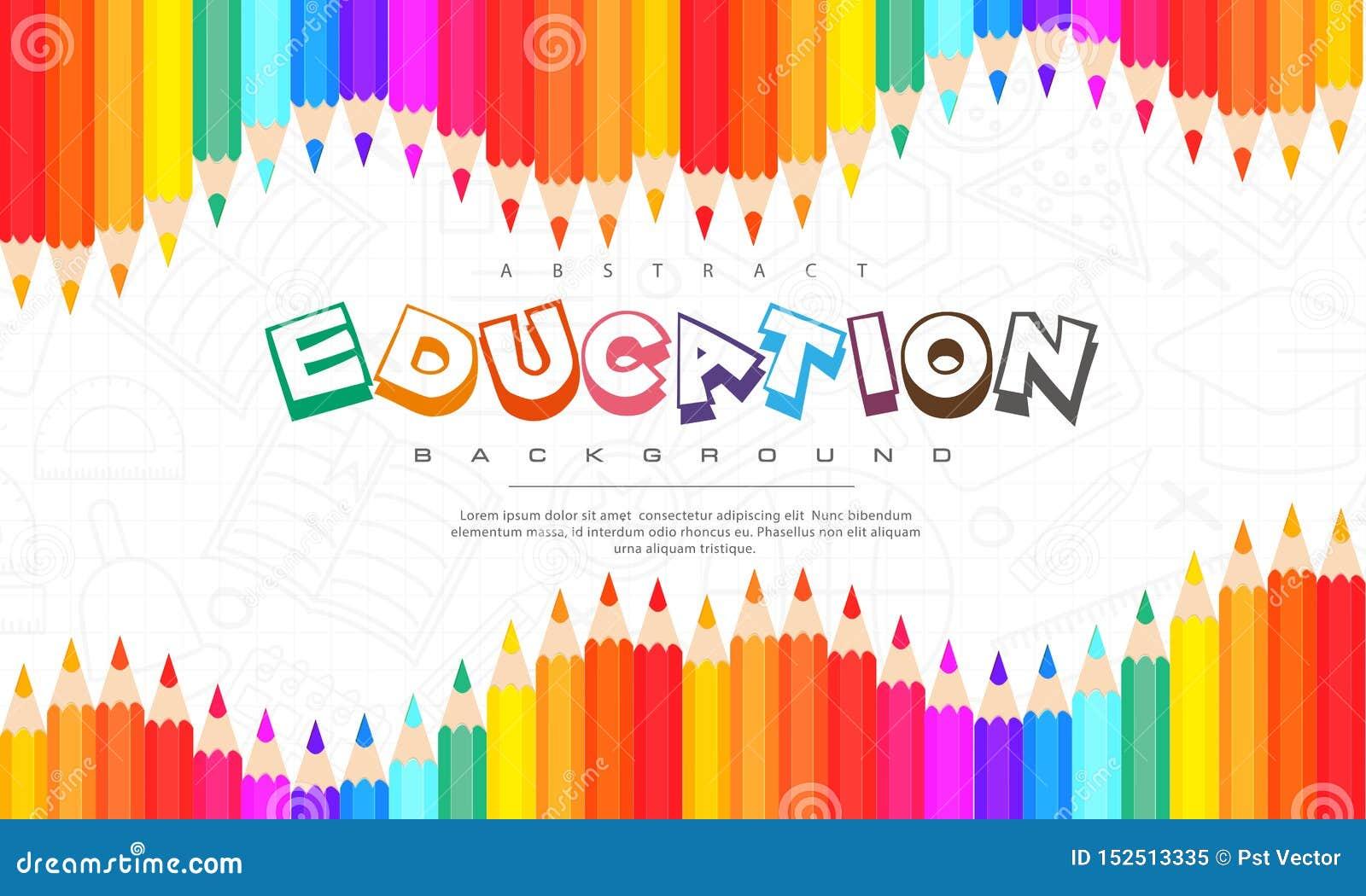 Αφηρημένο υπόβαθρο εκπαίδευσης, πίσω στο σχολείο, εκμάθηση, σπουδαστής, διδασκαλία, διανυσματικό υπόβαθρο απεικόνισης με τα ζωηρό