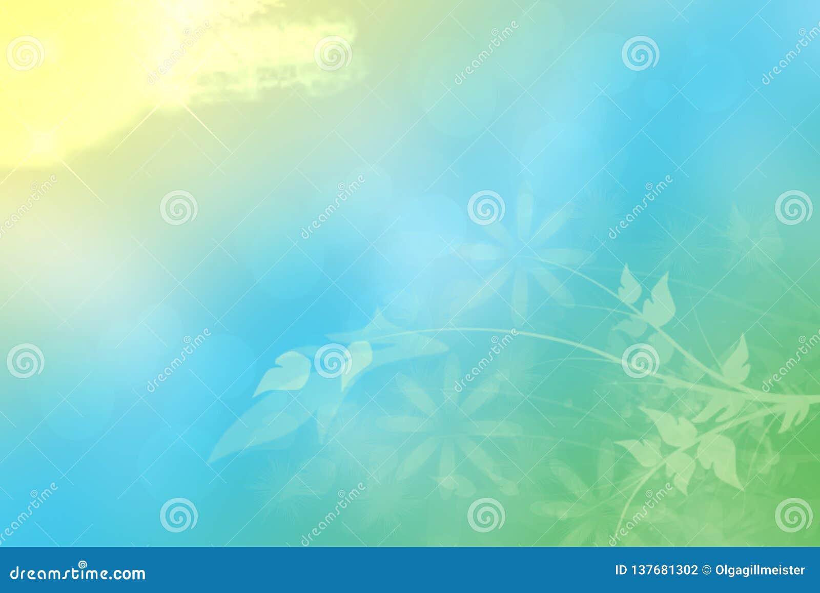Αφηρημένο υπόβαθρο λουλουδιών άνοιξης ή καλοκαιριού Αφηρημένο υπόβαθρο λουλουδιών με τα όμορφα πράσινα λουλούδια, τα φω τα ήλιων