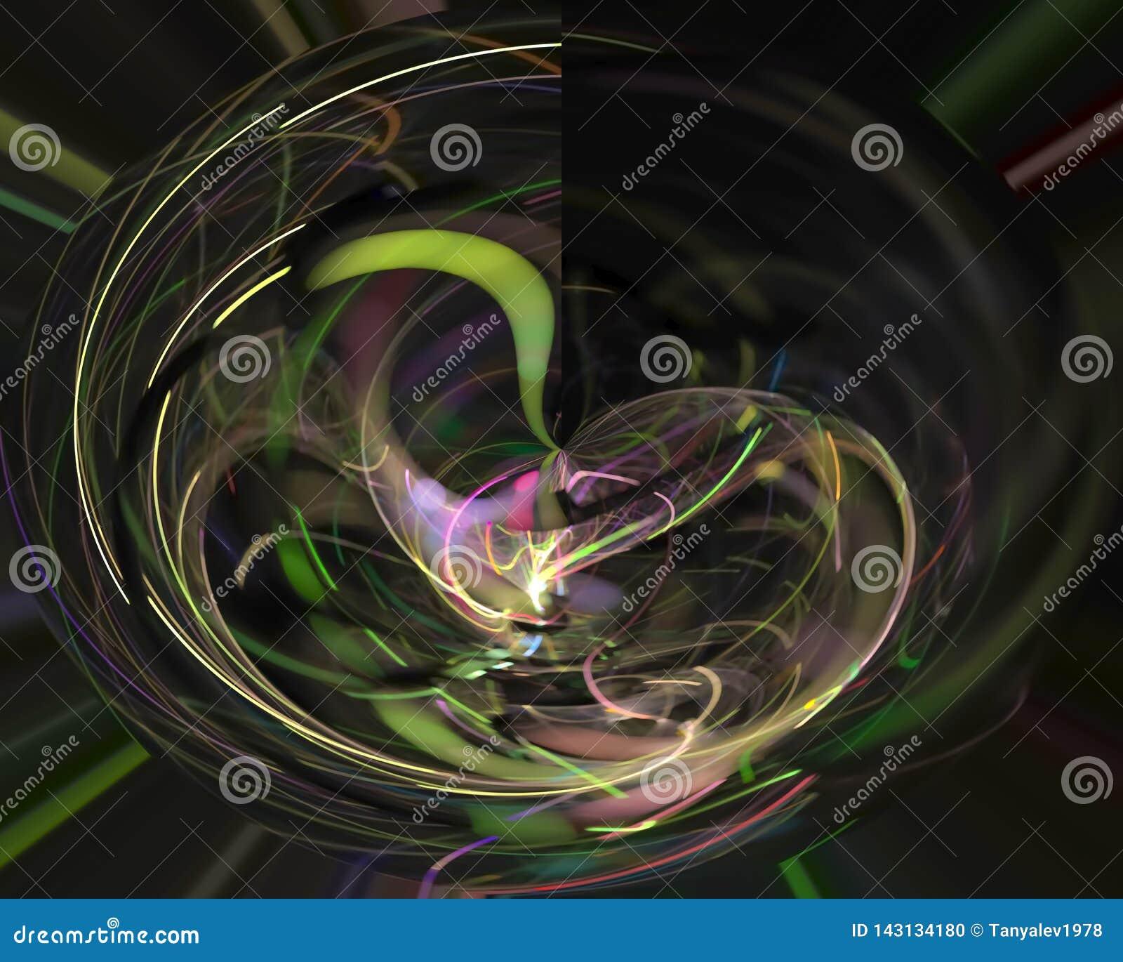 Αφηρημένο ψηφιακό fractal δημιουργικό, φουτουριστικός καλλιτεχνικός στοιχείων προτύπων φλογών διακοσμητικός, κομψότητα, δυναμική