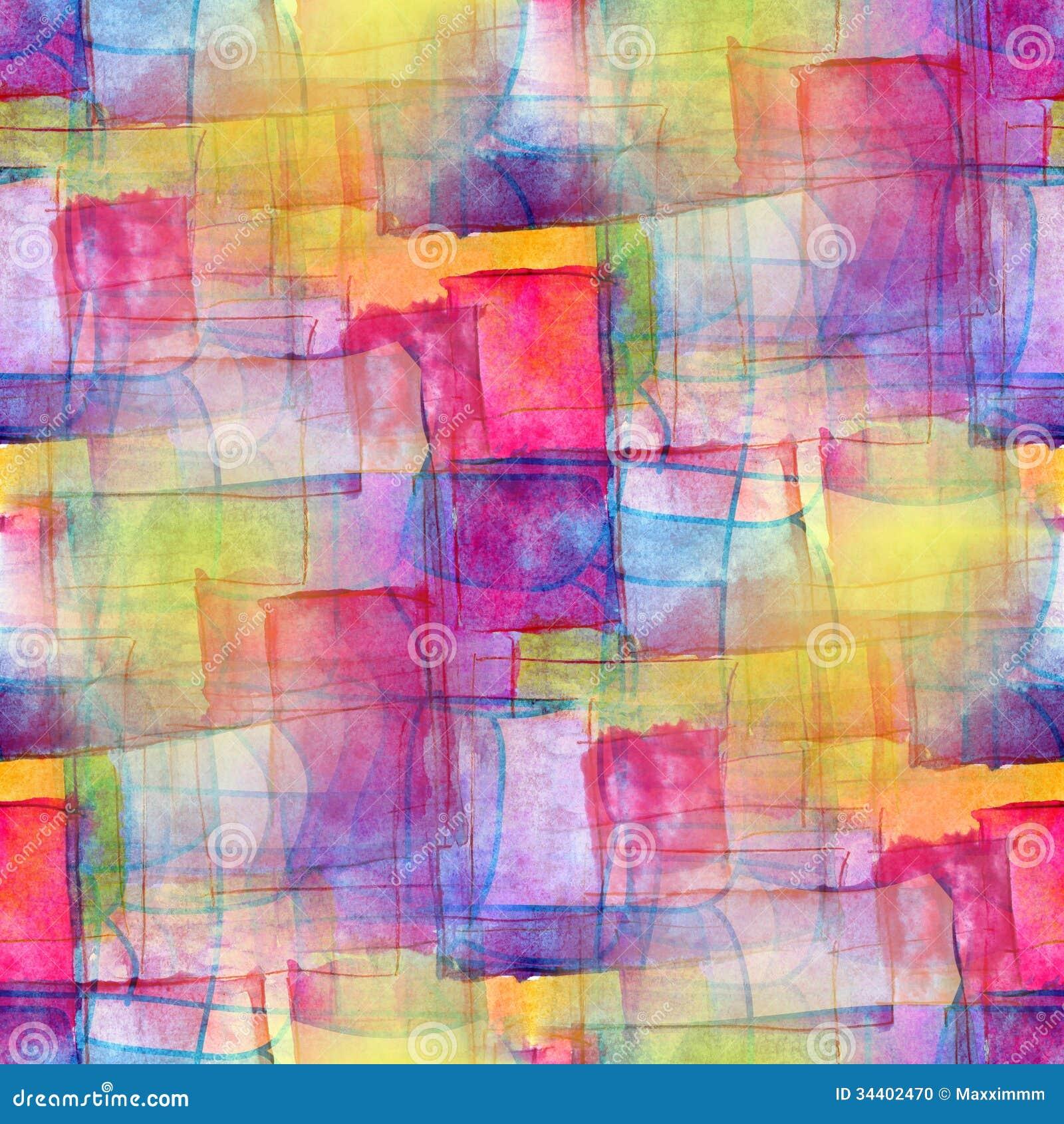 Αφηρημένο watercolor κυβισμού καλλιτεχνών άνευ ραφής μπλε