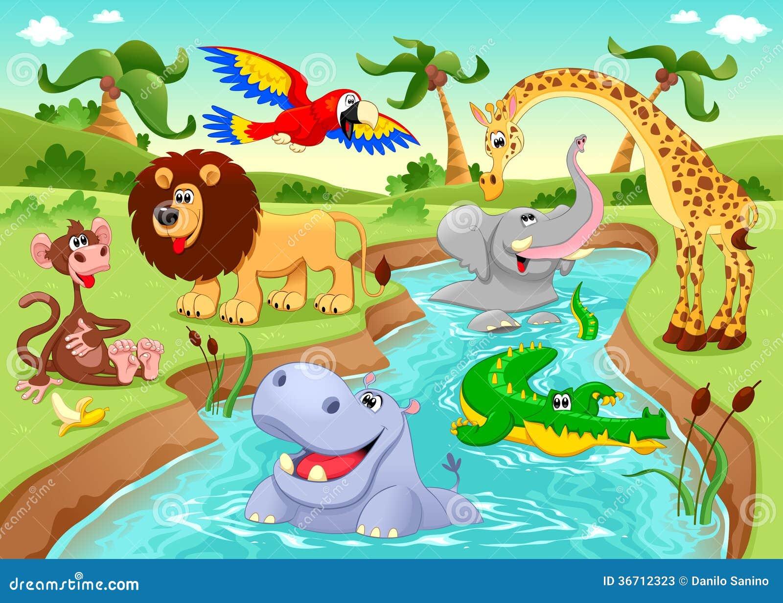 Αφρικανικά ζώα στη ζούγκλα. Διανυσματική απεικόνιση - εικονογραφία από ζώα,  αφρικανικά: 36712323