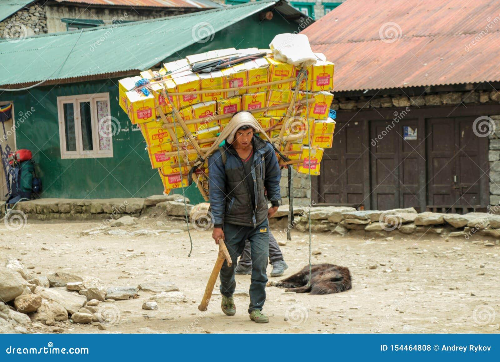 Αχθοφόρος Sherpa που φέρνει ένα βαρύ φορτίο στο Νεπάλ