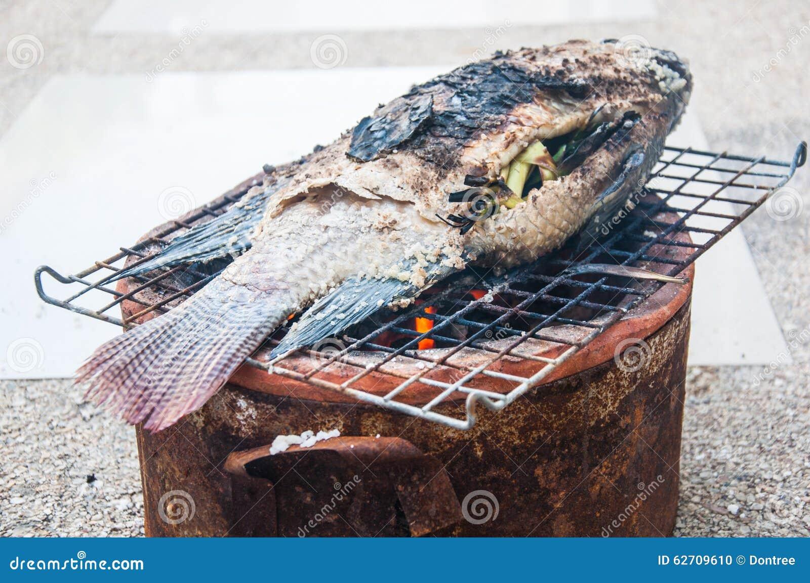 Αλατισμένος-εφελκιδώδη ψημένα στη σχάρα ψάρια