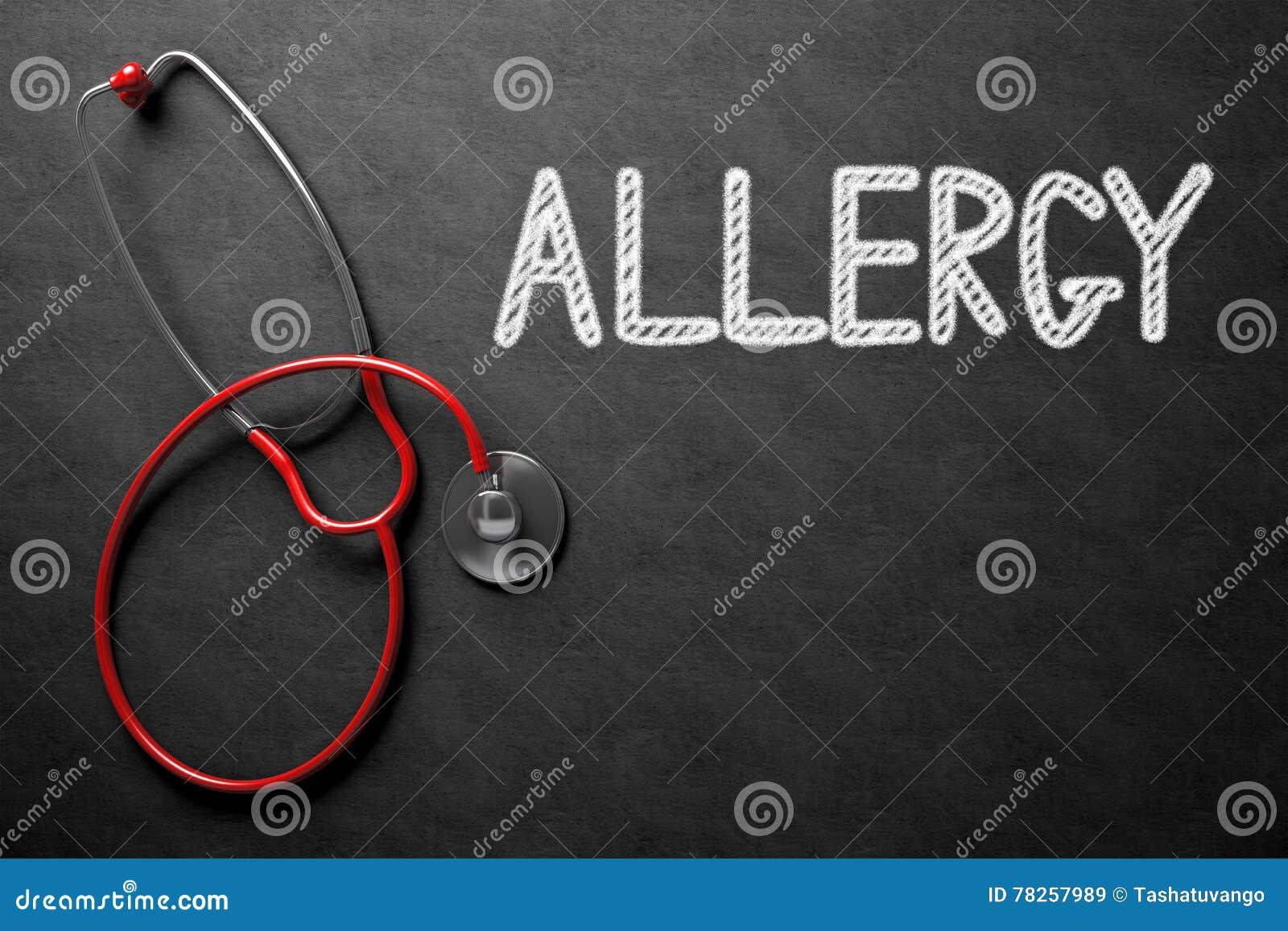 Αλλεργία χειρόγραφη στον πίνακα κιμωλίας τρισδιάστατη απεικόνιση