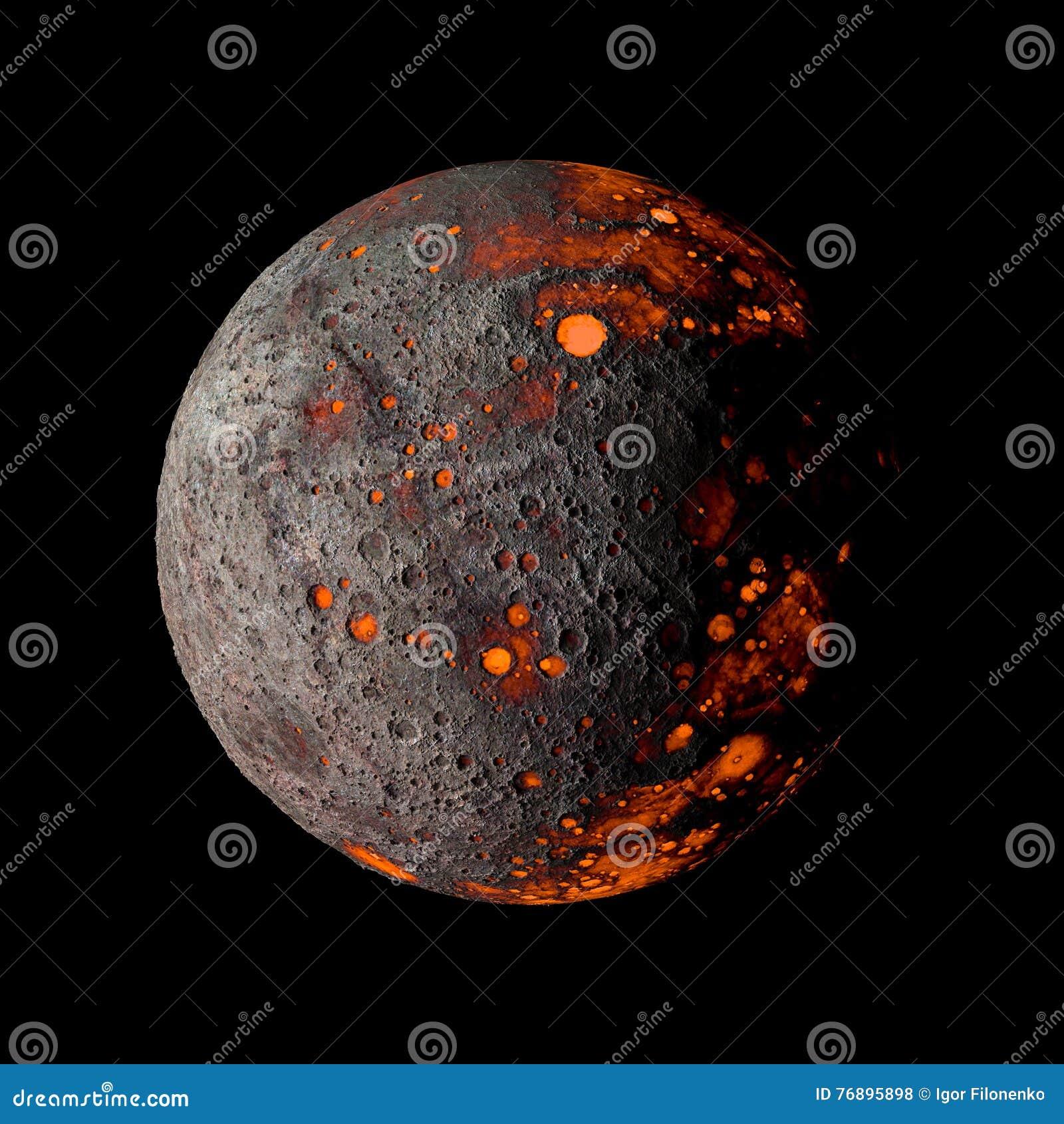 Αλλοδαπός καυτός πλανήτης στη μαύρη τρισδιάστατη απόδοση υποβάθρου