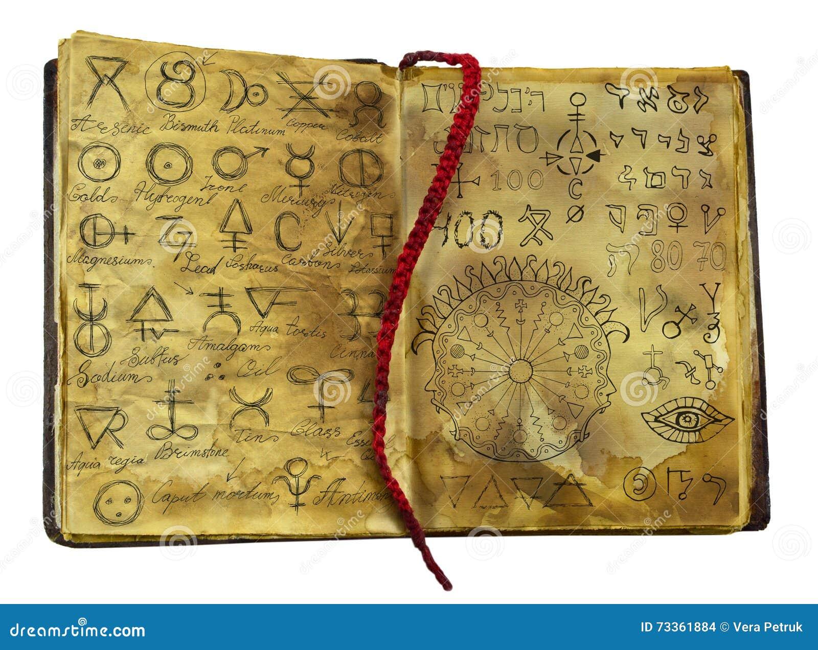 Αλχημικό βιβλίο με τα απόκρυφα και σύμβολα φαντασίας στις shabby σελίδες που απομονώνονται