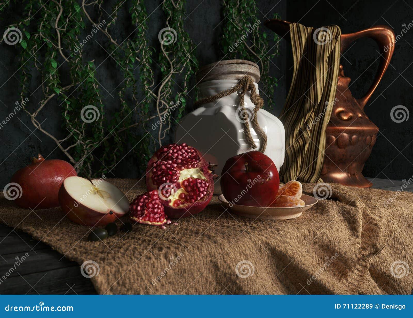 βάζο, rop, μήλα, ρόδι, εγκαταστάσεις και πορτοκάλι στην εννοιολογική ακόμα-ζωή υφασματεμποριών καμβά