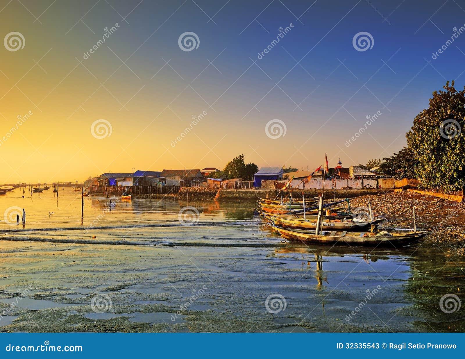 Βάρκες που επιπλέουν στην ακτή
