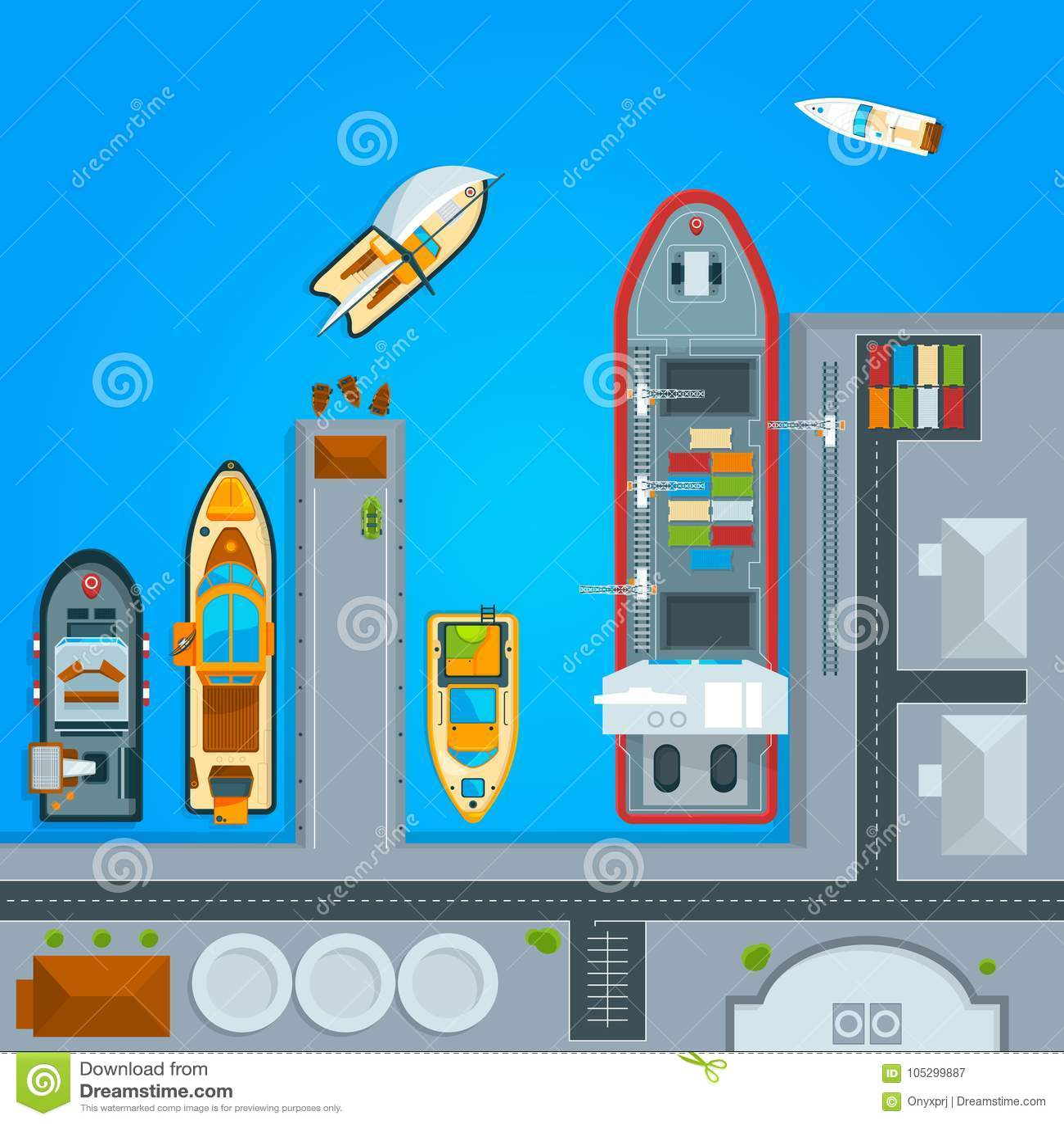 Βάρκες σκαφών και θάλασσας στην αποβάθρα Τοπ απεικονίσεις άποψης