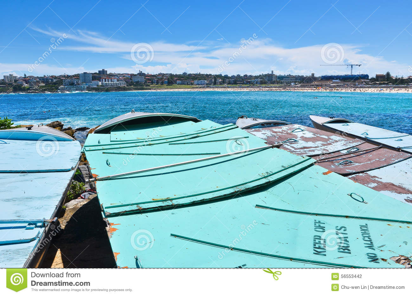 Download Βάρκες στην παραλία Bondi στοκ εικόνες. εικόνα από φύση - 56553442