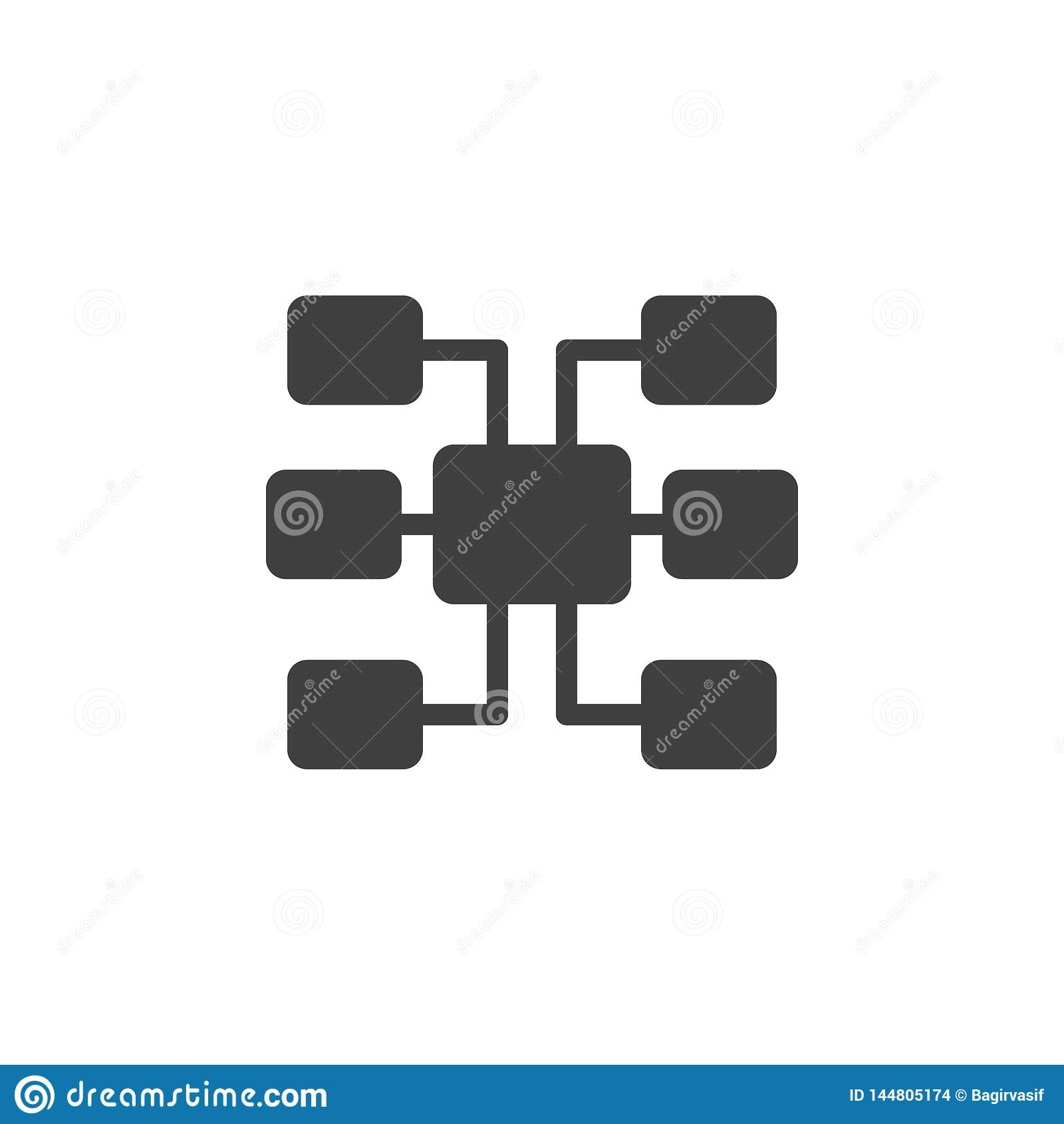 Βάση δεδομένων, κεντρικός υπολογιστής, sitemap διανυσματικό εικονίδιο Στοιχείο των στοιχείων για την κινητή απεικόνιση έννοιας κα