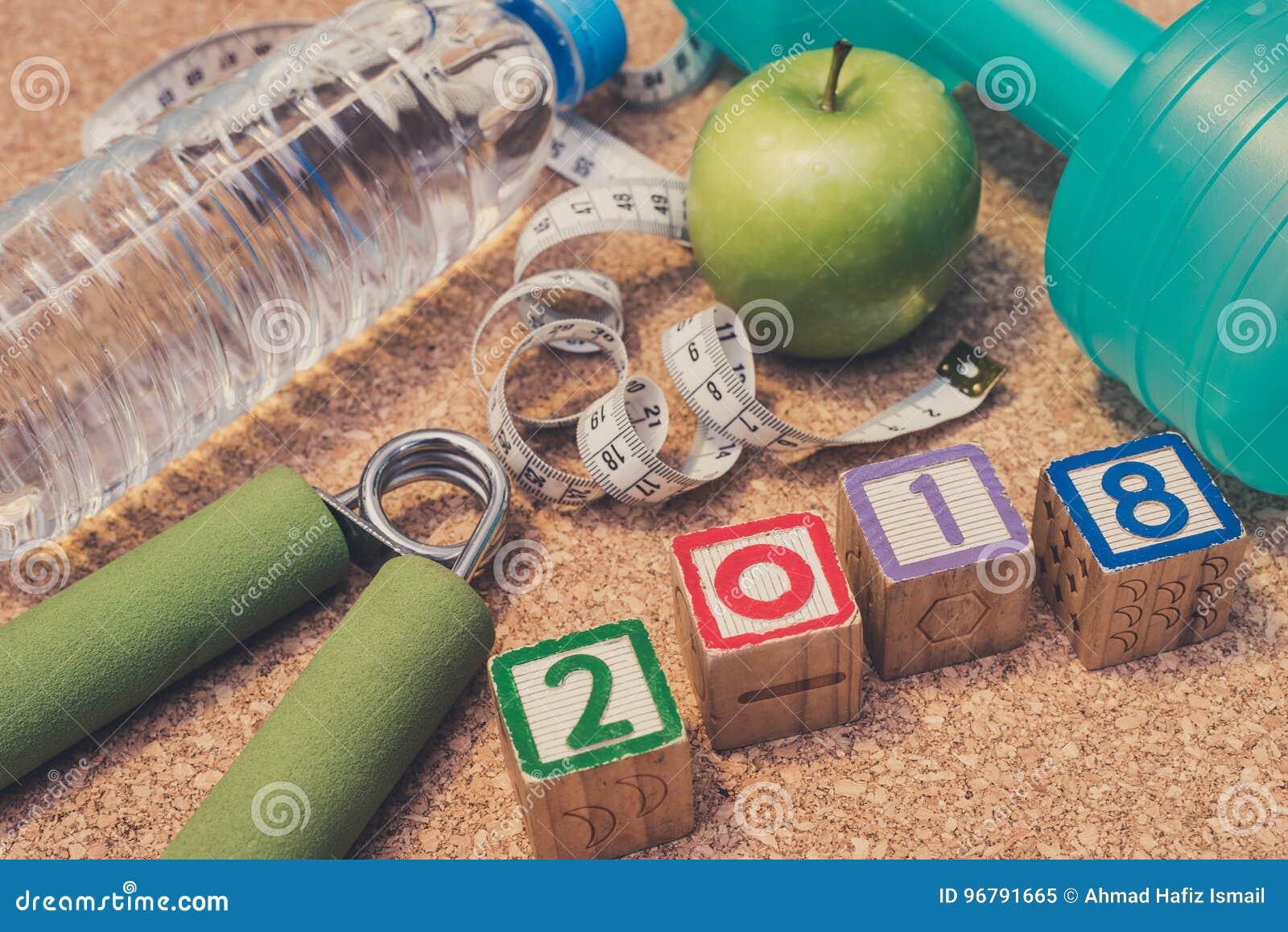 Βάλτε το επίπεδο - καλή χρονιά το 2018 Ικανότητα & υγιής έννοια κατανάλωσης