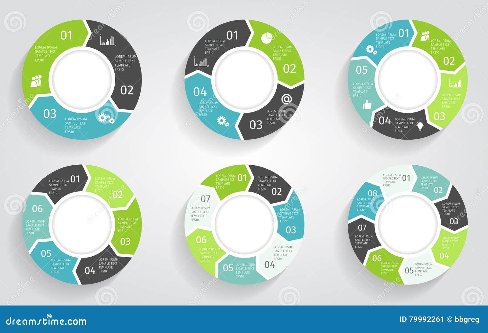Βέλη κύκλων infographic Διανυσματικό πρότυπο στο επίπεδο ύφος σχεδίου