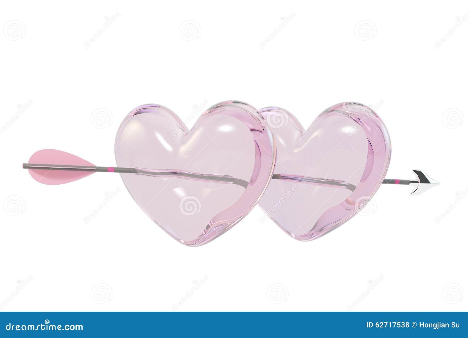 Βέλος μέσω των δύο καρδιών γυαλιού