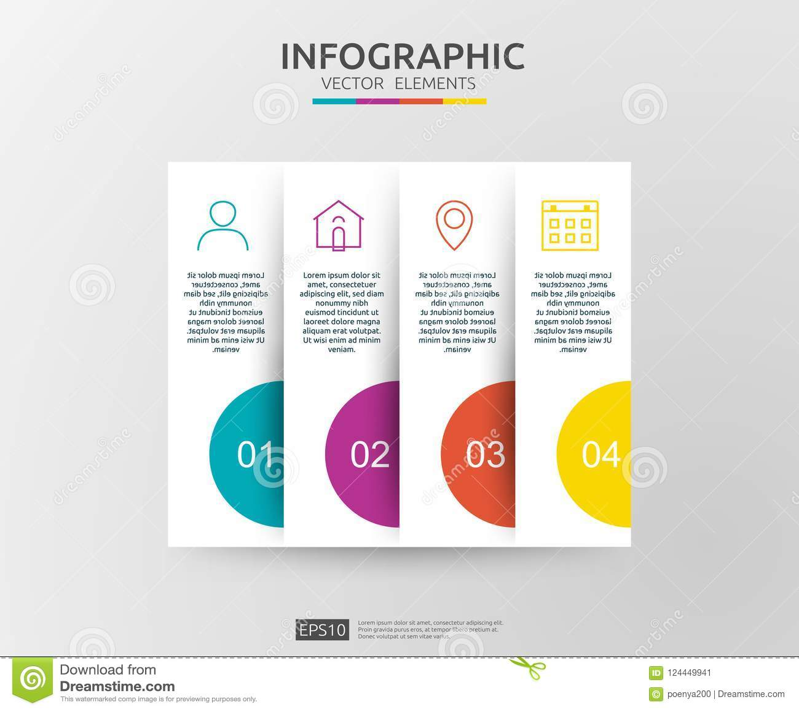 4 βήματα infographic πρότυπο σχεδίου υπόδειξης ως προς το χρόνο με την τρισδιάστατη ετικέτα εγγράφου Επιχειρησιακή έννοια με τις