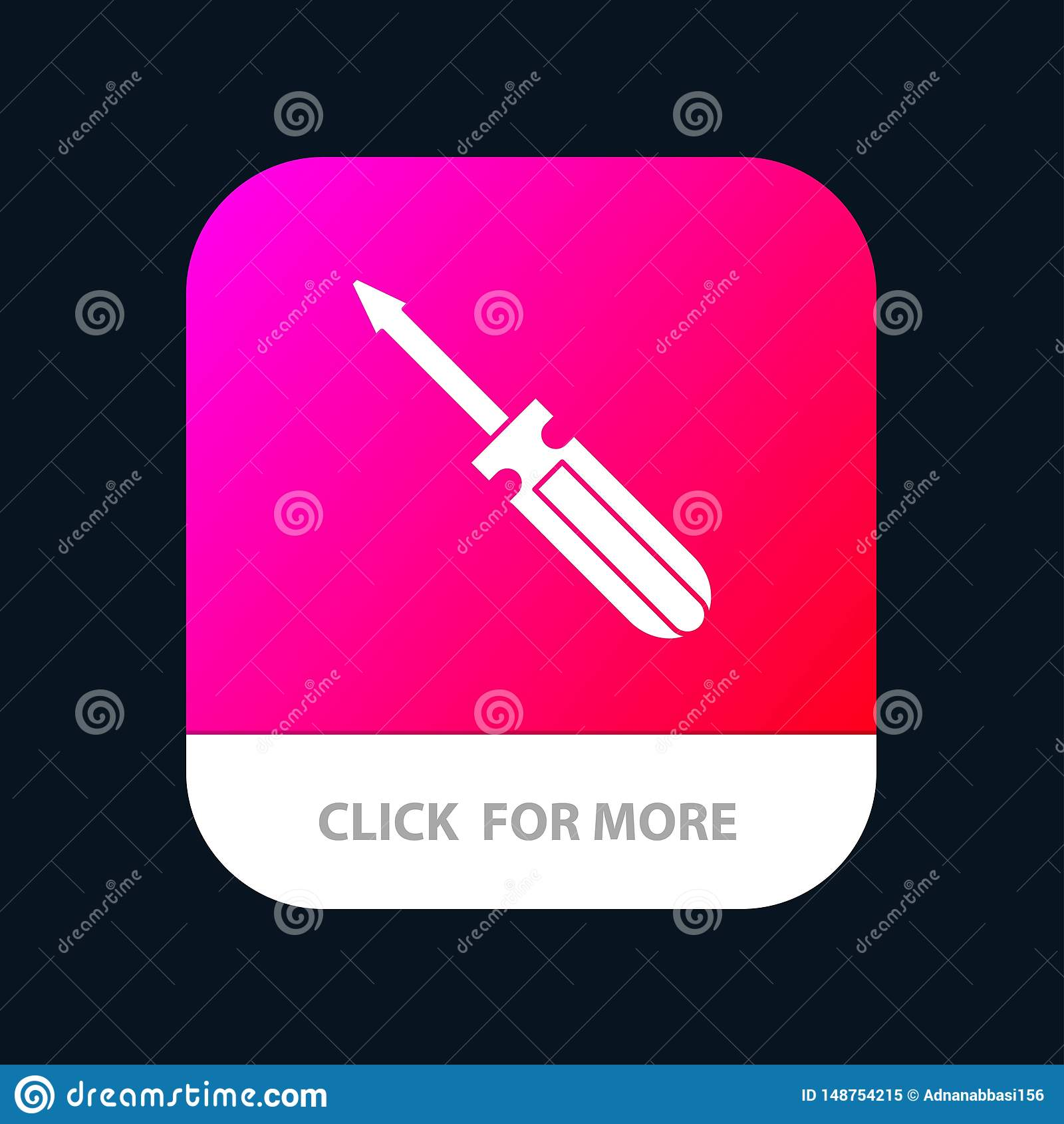 Βίδα, οδηγός, εργαλείο, επισκευή, κινητό App εργαλείων κουμπί Αρρενωπή και IOS Glyph έκδοση