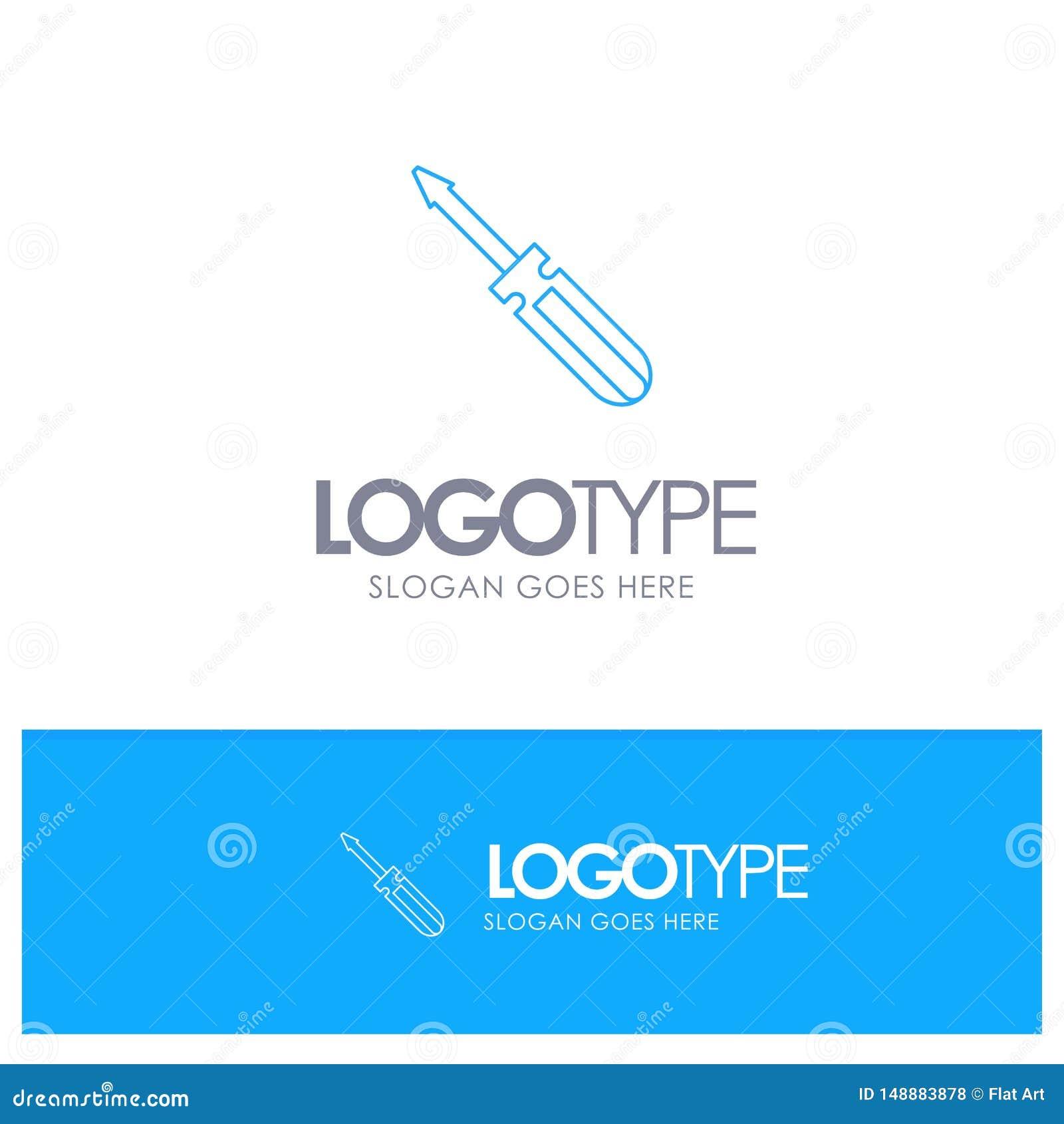 Βίδα, οδηγός, εργαλείο, επισκευή, μπλε λογότυπο περιλήψεων εργαλείων με τη θέση για το tagline