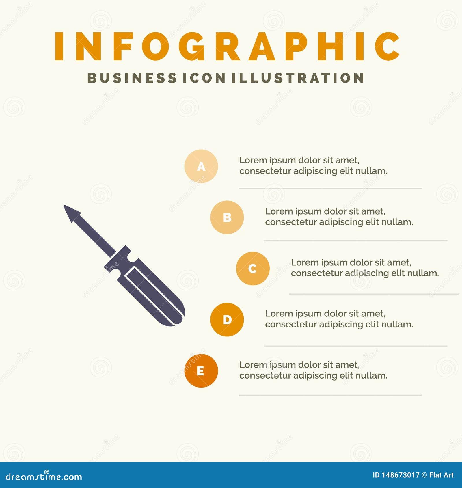 Βίδα, οδηγός, εργαλείο, επισκευή, στερεό εικονίδιο Infographics 5 εργαλείων υπόβαθρο παρουσίασης βημάτων