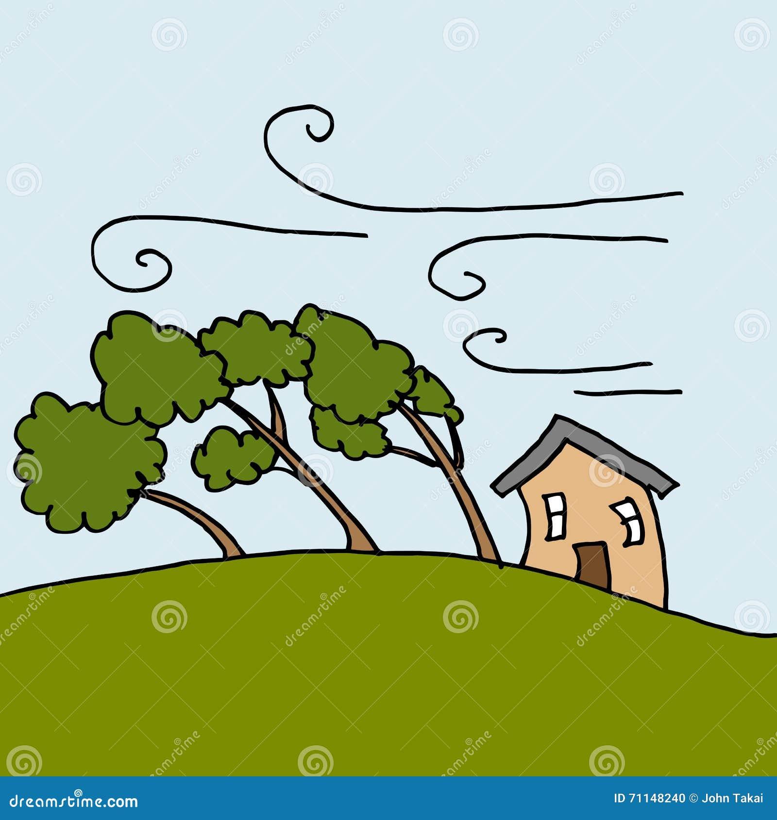 Βαριοί άνεμοι που κάμπτουν τα δέντρα μια θυελλώδη ημέρα