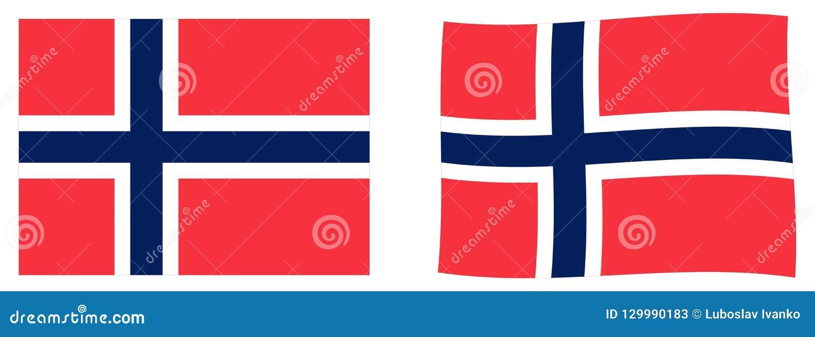 Βασίλειο της σημαίας της Νορβηγίας Απλός και έκδοση ελαφρώς κυματισμού