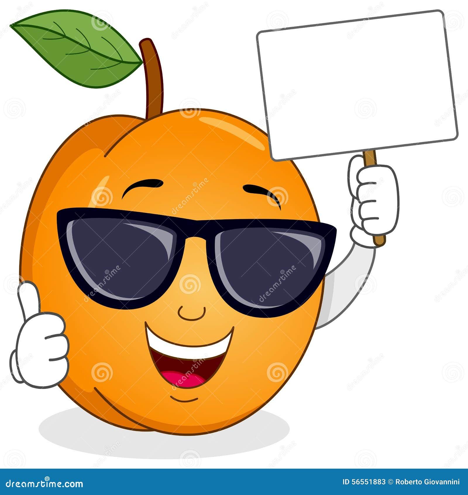 Download Βερίκοκο με τα γυαλιά ηλίου και το κενό έμβλημα Διανυσματική απεικόνιση - εικονογραφία από σχέδιο, καρπός: 56551883