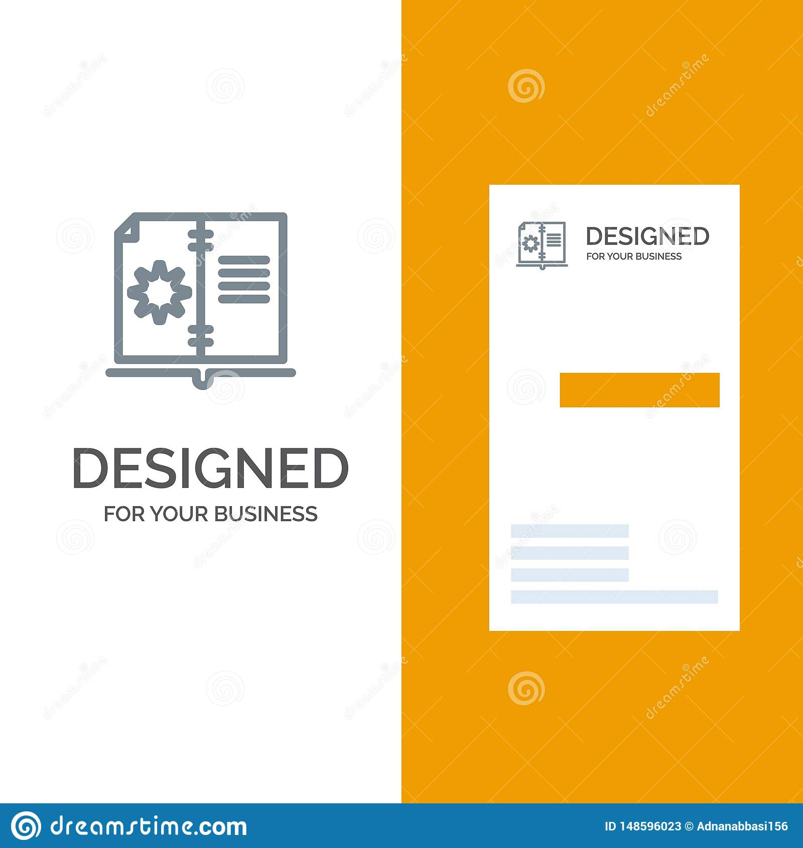 Βιβλίο, οδηγός, υλικό, γκρίζο σχέδιο λογότυπων οδηγίας και πρότυπο επαγγελματικών καρτών