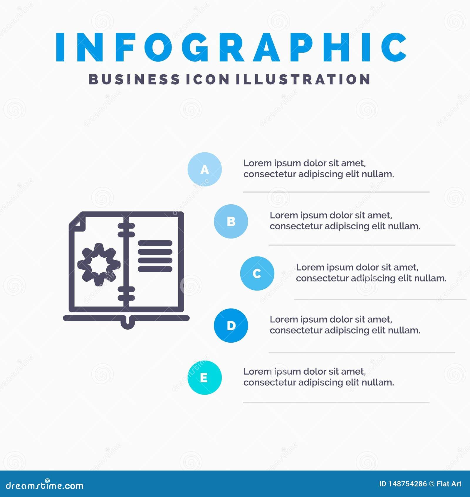 Βιβλίο, οδηγός, υλικό, εικονίδιο γραμμών οδηγίας με το υπόβαθρο infographics παρουσίασης 5 βημάτων