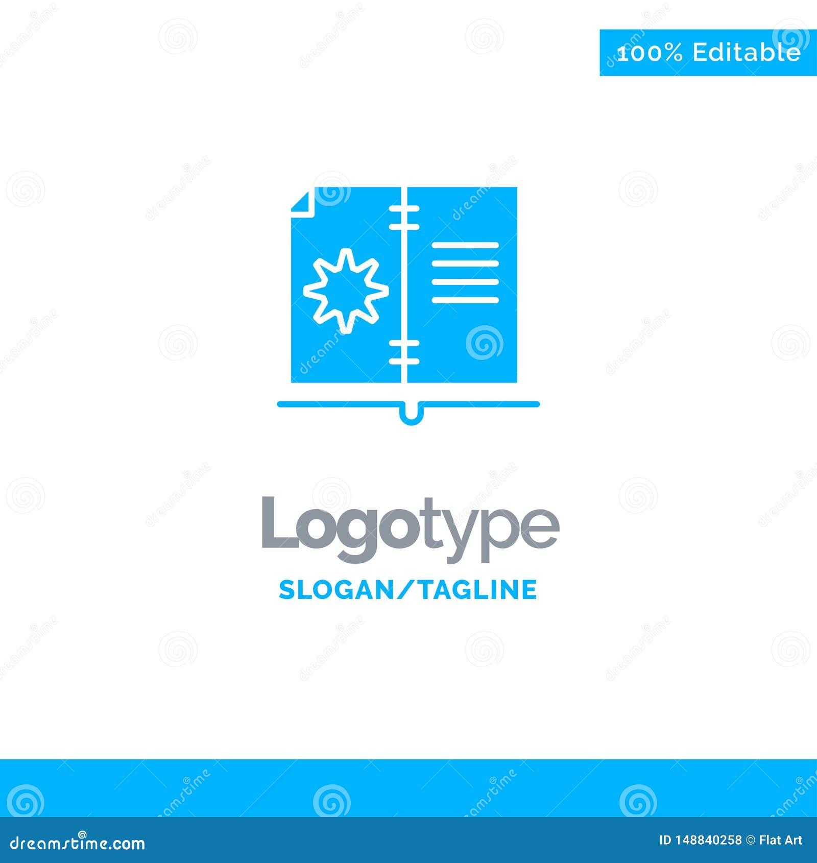 Βιβλίο, οδηγός, υλικό, μπλε στερεό πρότυπο λογότυπων οδηγίας r
