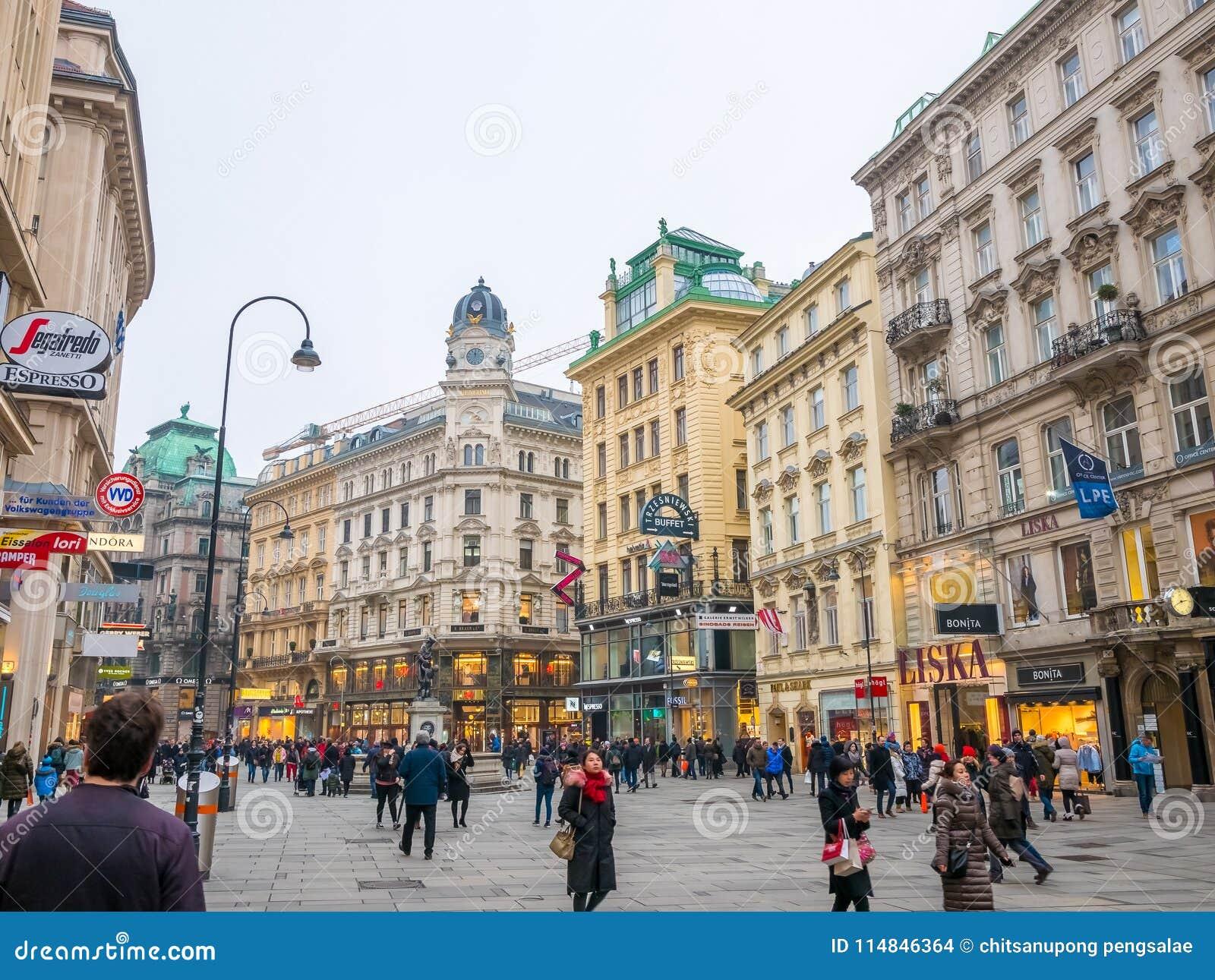 ΒΙΕΝΝΗ, ΑΥΣΤΡΙΑ 17 ΦΕΒΡΟΥΑΡΊΟΥ 2018: Απόψεις εικονικής παράστασης πόλης μια από την ομορφότερα πόλη και το άγαλμα Βιέννη της Ευρώ